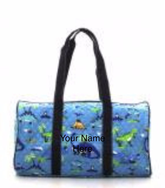 Duffle Bag Dinosaur Print Quilted with Personalized Embroidery