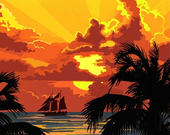 Key West, Florida - Sunset & Ship - Lantern Press Artwork (Art Print - Multiple Sizes Available)