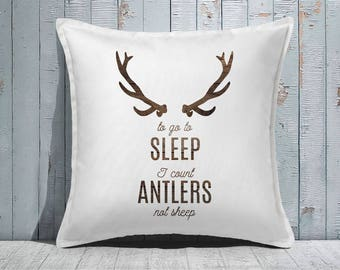 Custom Decorative Pillow | Throw Pillow | Custom Pillow | 20 x 20 Pillow Cover | Custom Pillow Cover | Personalized Pillow|woodgrain antlers