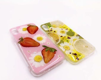 Pressed fruit strawberry iphone 7/8/8plus/X case,Various fruit SMASUNG galaxy s9/s9+/note 8 case,pressed dried flowers huawei p20 pro case