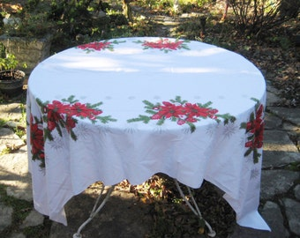 Rectangle Christmas Tablecloth, Poinsettia, Ornaments, Pine Tree, Pine  Cones, Red Green