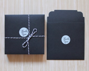 "Thank You Gift/Order Enclosures - Set of 12 - Handmade  Envelopes - Black - 4 1/4"" x 4 1/2"" - For Small Cards, Etc."