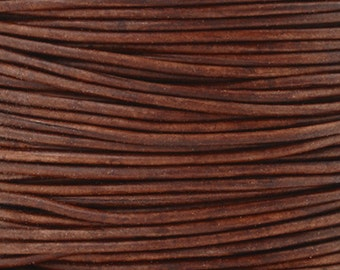 Leather-1mm Round Cord-Soft-Natural Red Brown-2 Meters