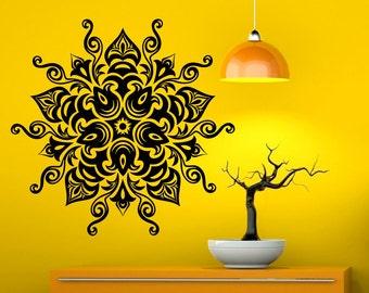 Mandala Wall Decal Flower Mandala Vinyl Sticker Indian Lotus Murals Interior Home Decor (10ma4l)