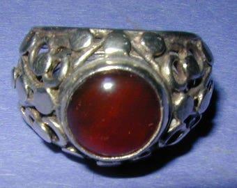 Vintage 1970 Sterling Silver and Agate Modernist Dome Adjustable Ring