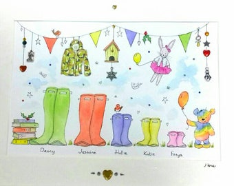 Personalised Welly Boot Family, Handmade Framed Watercolour Painting, Original Housewarming Gift, Personalised Family Artwork