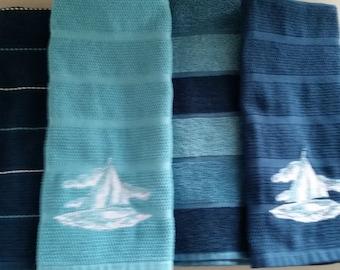 SAILBOAT KITCHEN TOWELS Set of 4 towels