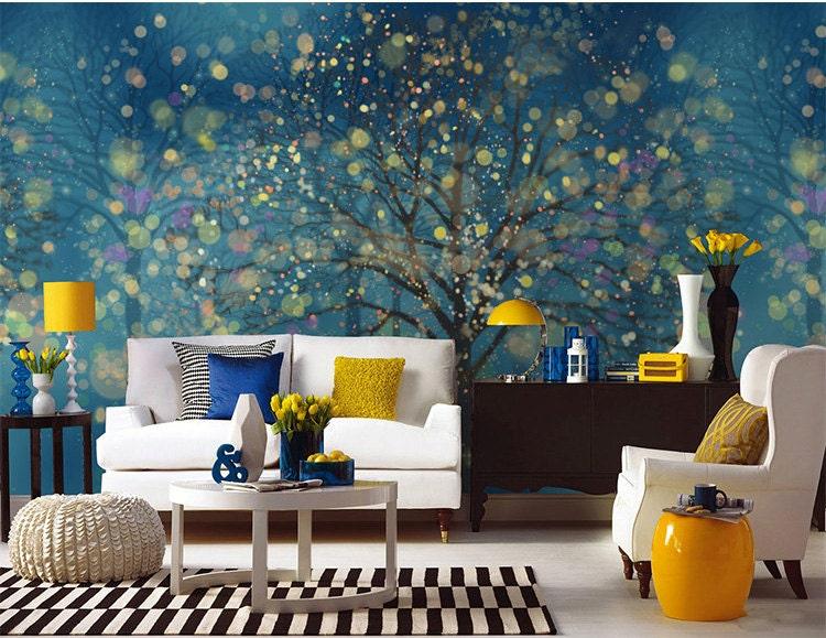 Fantasy Forest Wallpaper Wall Mural Art Bedroom Midnight Dark