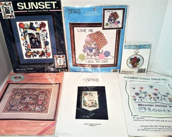 Lot of 6 Assorted Cross Stitch Kits: Love My Cat, From the Heart, Way to Go Sport, Beauty of Nature Banner, Heaven Smiles in Flowers