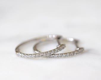 14K White Gold Diamond Oval Huggie Hoop Earrings