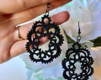 Black Chandelier Earrings, Black Lace Earrings with black beads, Neutral Jewelry, Black Earrings, Date Night Jewelry, Black Jewelry