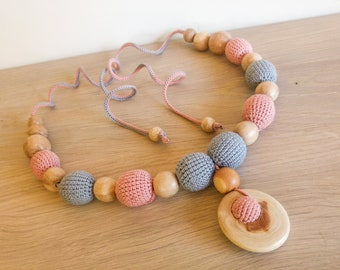 Pink & Gray Nursing Necklace - Teething Necklace for mom - Mama Babywearing Jewelry