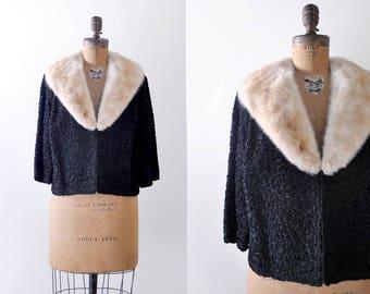 1950 black & mink coat. fur trimmed. 50's ribbon soutache. cropped jacket. cream mink. m. l.