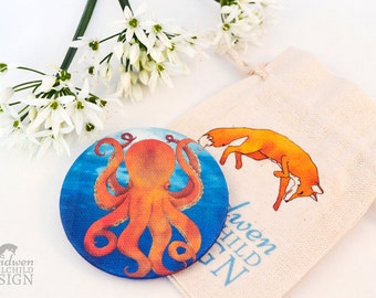 Octopus Fabric Pocket Mirror, Cosmetic Mirror, Makeup Mirror, Gifts for Women, Fabric Covered Mirror, Stocking Filler, Octopus Gift