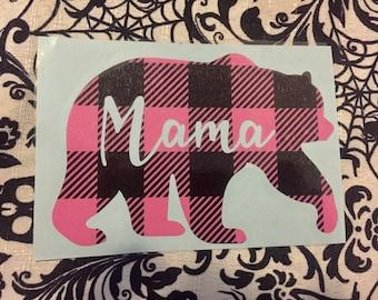 Pink and Black plaid buffalo print mama bear decal sticker