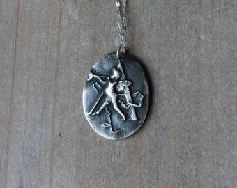 Cameo-cherub-alphabet letter fine silver oxidized pendant
