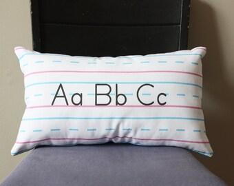 Penmanship Pillow - ABCs, Print // Teacher Gift // School // Handwriting // Elementary School // Cursive // ABCs // Cushion // Nostalgic