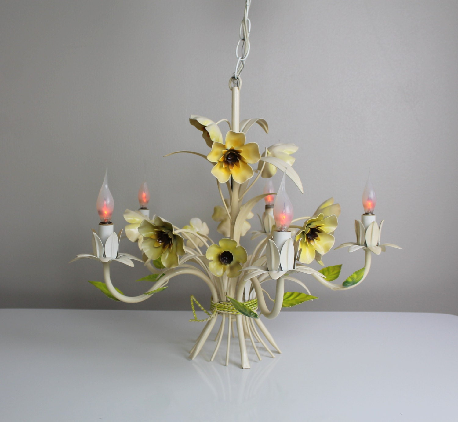 Vintage italian tole chandelier vase with flowers and leaves zoom arubaitofo Image collections