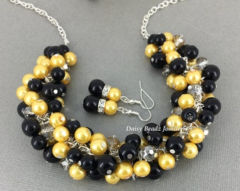 Yellow Necklace Black Neckalce Cluster Necklace Pearl Jewelry Bridesmaid Gift Bridesmaid Necklace Wedding Jewelry for Mother