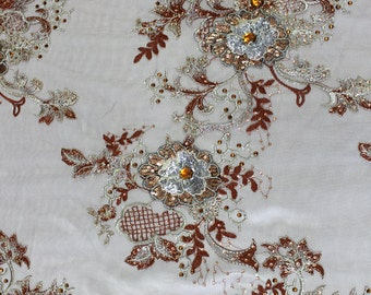 Mesh Sequin Fabric Embroidered 3D Flower Cording BROWN (Sold By The Yard)