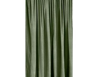 Heavy Thick Green Cotton Velvet Curtain Panel 96 Inch Long Drape Custom Made Size Thermal Energy Efficient Noise Reduction/Soundproofing