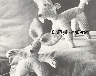 Vintage Toy Rabbit and Toy Poodle Knitting PDF Pattern