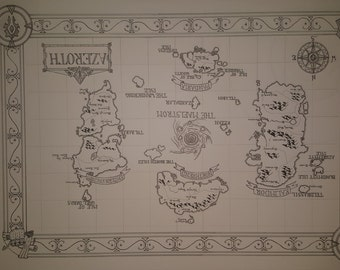 A Hand drawn map of Azeroth (ink and pencil)