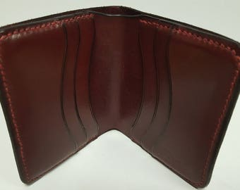 Handmade Hand-sewn Burgundy Leather Wallet