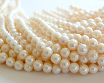 9mm round fresh water pearls, natural pearls, jewelry making supplies, circle of stones, pearl strands