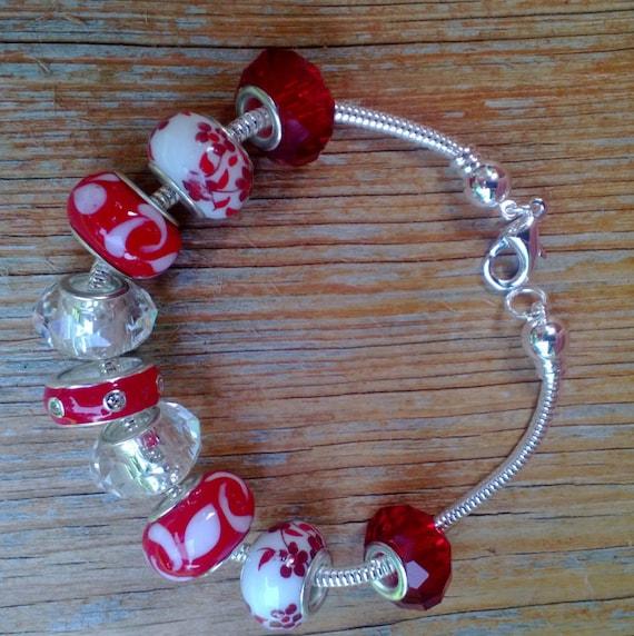 On Sale Red Bracelet Big Bead Bracelet, European Style Bracelet, Large Hole Add a Bead, Chunky Red Beaded Bracelet, 7.5 inches