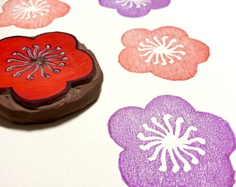 "A Flower Stamp - Hand Carved Rubber Stamp - 2"" x 2"" - Made to Order"