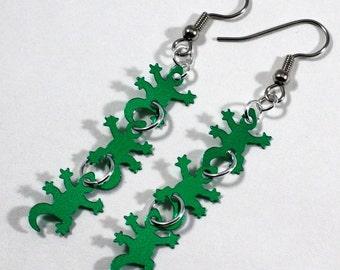 Green Gecko Earrings Green Metallic Lizards Dangle Plastic Sequins