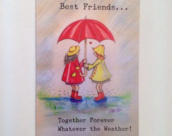Best friends card, Best friends forever, BFF, Best friends greeting card,  Together forever card, Best friends together, Vintage style card