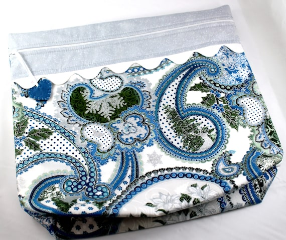 MORE2LUV Silver Frost Paisley Cross Stitch Embroidery Project Bag