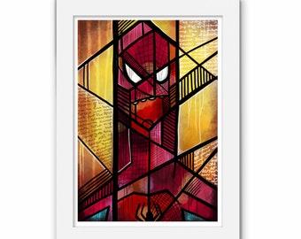 Spider-Man Abstract Print, Spiderman Art, Venom, Marvel Comics, Comic, Illustration, Geek Art Gift