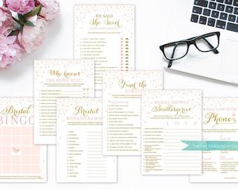 Bridal Shower Games Package . Bundle 7 Games . Pink and Gold . Printable Digital Download . Bridal Shower Games Pink and Gold Glitter