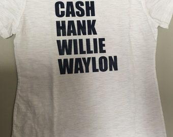 Cash, Hank, Willie, Waylon - Navy Blue Print on White Slub Tee - Size XLarge