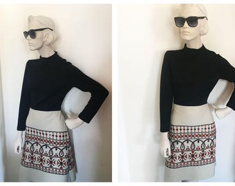1970s bohemian sheath with Embroidered ethnic skirt // 1970s turtleneck dress by bleeker street size S/M