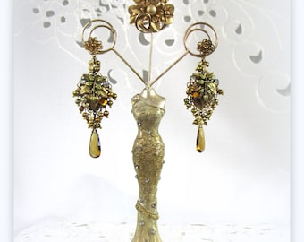 Bronze Antique Gold Leaf drop earrings faceted honey quartz drop freshwater pearls Restyled from Vintage & New Pieces