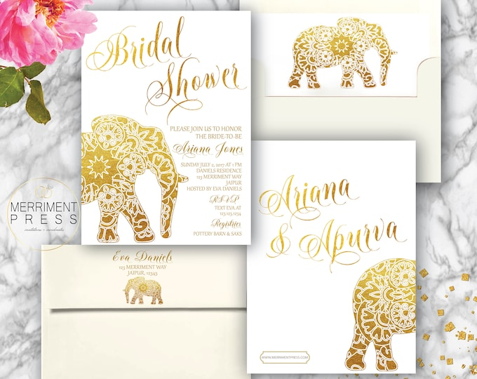 Indian themed Bridal Shower Invitation / Bollywood / Elephant / Paisley / Gold / Mehndi / Paisley / India / Henna JAIPUR COLLECTION