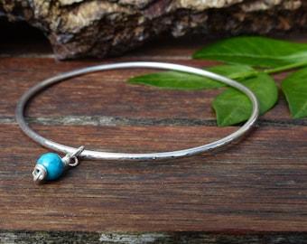 Sterling Silver Bangle Bracelet with Turquoise Charm, 2mm Round Stacking Skinny Textured Bangle, Boho Gypsy Yoga Bangle, Wedding Jewellery