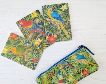Stationery Set - Botanical Notebook and Pencil Case - Colourful Stationery - Fun Stationery Gift Set - Nature Stationery - Tropical Parrots