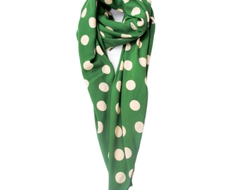Last Chance! Giant polka dots full size scarf, matcha green and cream