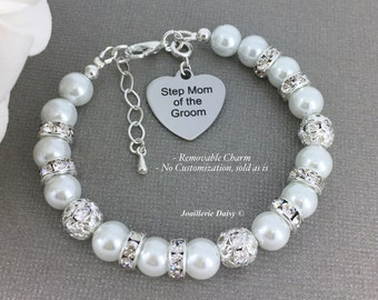 Step Mother of the Groom Bracelet Stepmom of the Groom Bracelet Pearl Bracelet Gift for Stepmom  Mother in law Gift
