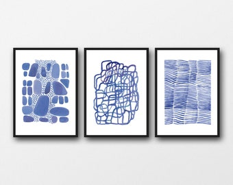 watercolor print set, blue Wall decor, set of 3 prints, watercolor paintings blue watercolor  prints, abstract art prints, nautical style