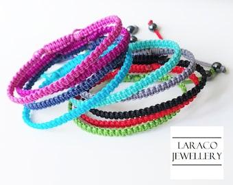 LARACO JEWELLERY - Square Knot Macrame Friendship Purple Cord Bracelet