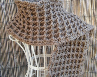 Beautiful Warm Waffle Stitch Crocheted Brown Scarf