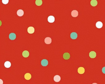 Red Multi-Color Dot Fabric, Ooh La La by Dana Brooks