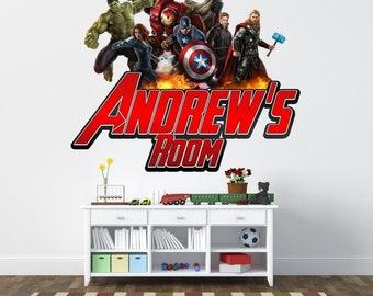Personalised boys girls avengers marvel hulk captain america iron man sticker