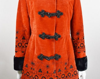 Vintage 1970's Women's Burnt Orange Velvet Embroidered Black Faux Fur Trim Princess Penny Lane Boho Hippie Coat S M